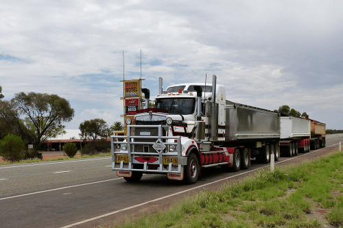 Semi driving stock image